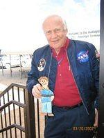 Astronaut Buzz Aldrin and Flat Stanley